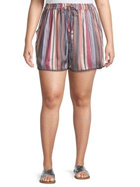 Romantic Gypsy Women's Plus Size Striped Tassel Tie Shorts