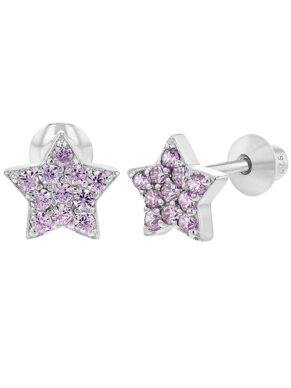 925 Sterling Silver Star Earrings CZ Screw Back Baby Infant Little Girls