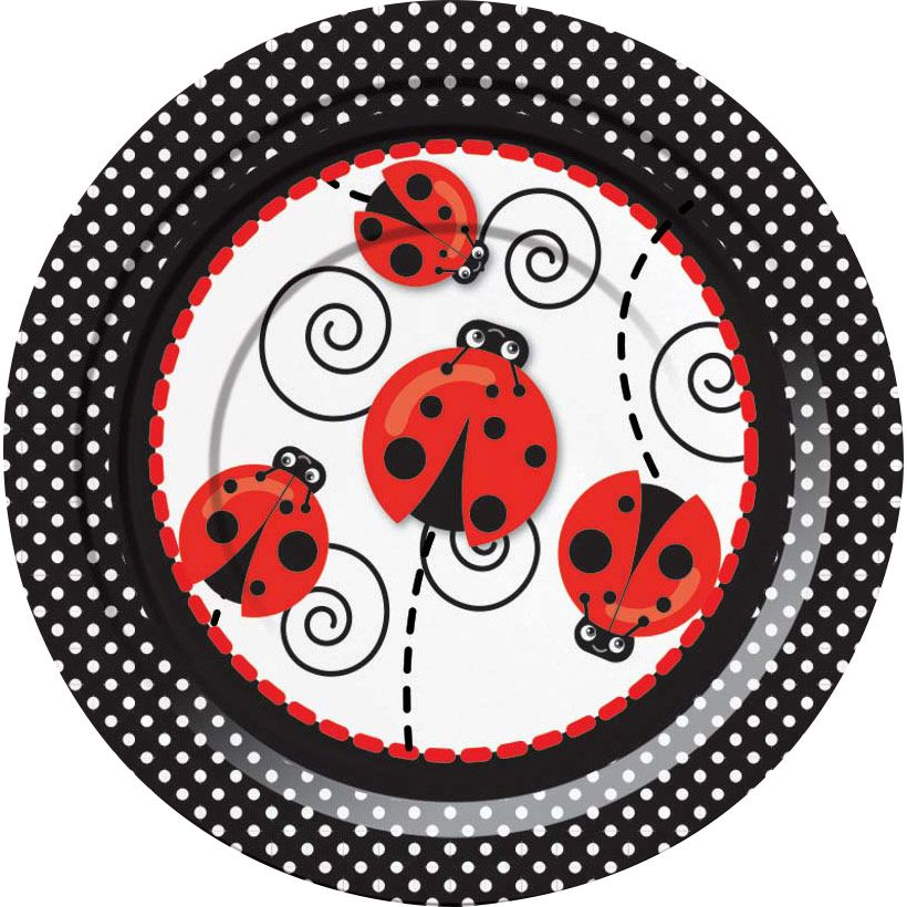 """Ladybug 7"""" Cake Plates (8 Pack) - Party Supplies"""