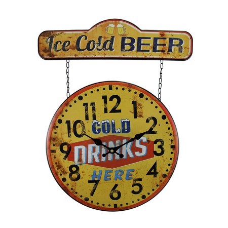 Faux Vintage Finish Metal Ice Cold Beer Sign And Wall Clock 20 Inch