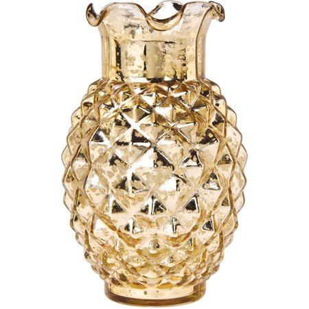 Vintage Mercury Glass Vase (6-Inch, Willa Ruffled Pineapple Design, Gold) - Decorative Flower Vase - For Home Decor and Wedding Centerpieces](Glass Flower Vases)