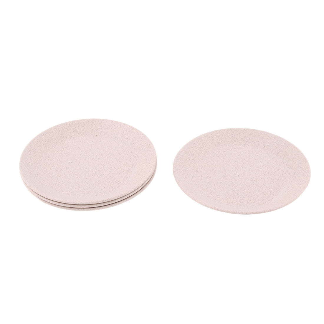 Household Restaurant Round Design Food Snack Dessert Dish Plate Beige 4 Pcs by