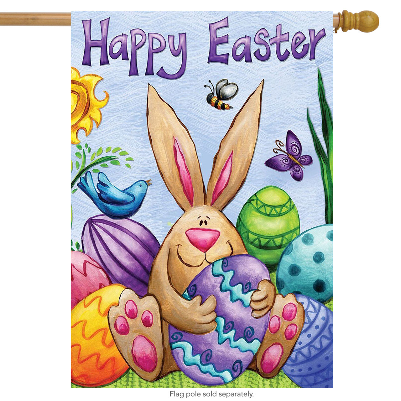 "Happy Easter Bunny House Flag Eggs Butterfly Holiday Briarwood Lane 28"" x 40"""