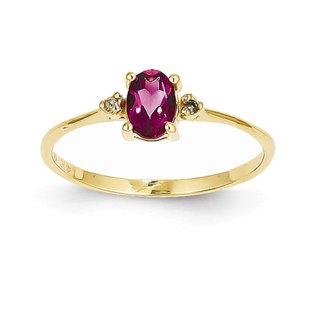 14k Diamond & Pink Tourmaline Birthstone Ring by