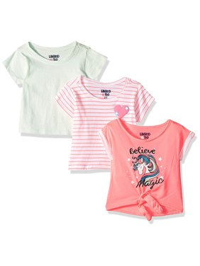Limited Too Tie Front Graphic, Solid and Printed T-Shirt, 3-Pack (Little Girls & Big Girls)