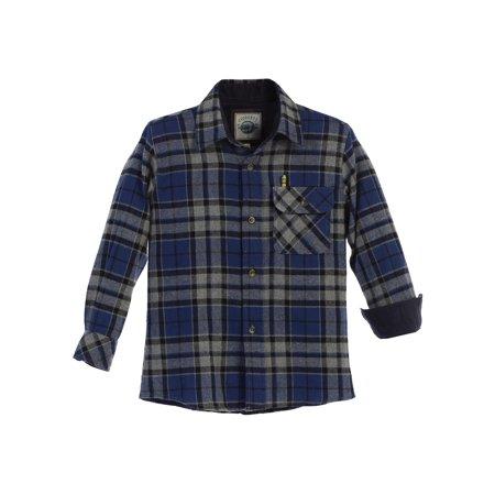 Gioberti Little Boys Gray Royal Blue Corduroy Contrast Flannel Shirt 4-7