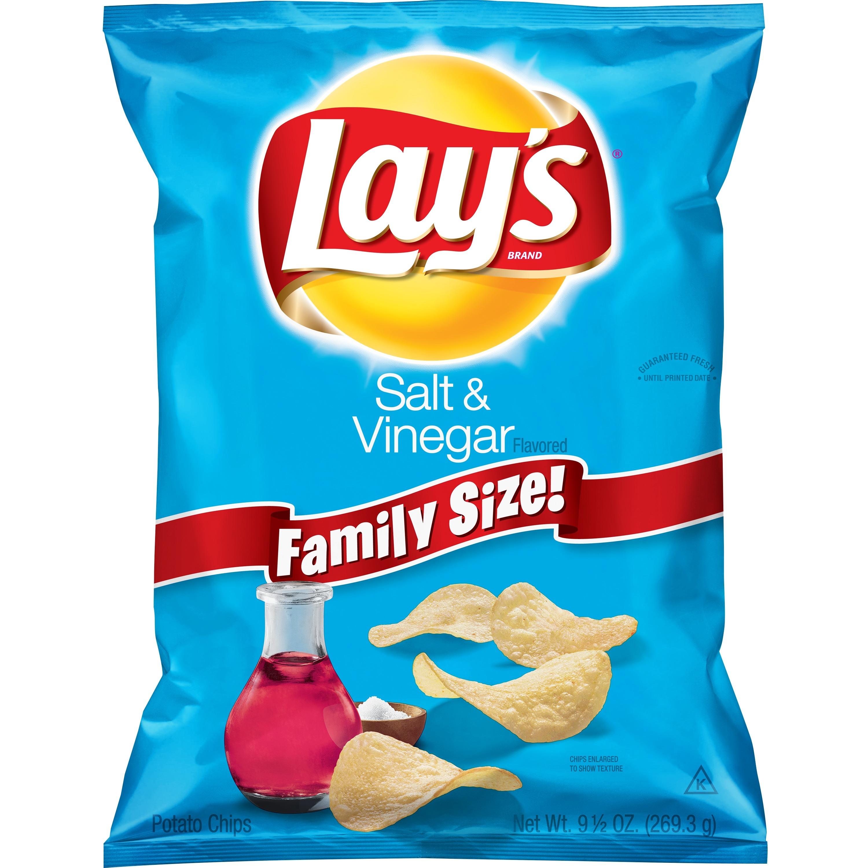Lay's Family Size Salt & Vinegar Potato Chips, 9.5 Oz.