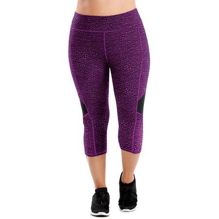 Just My Size Women's Plus Size Active Colorblocked Performance Capri Leggings](Plus Size Rave Wear)