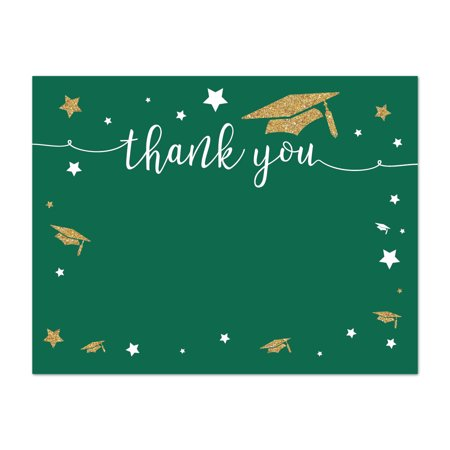 Graduation Thank You Notes (Emerald Forest Green and Gold Glittering Graduation Party, Blank Thank You Notes with Envelopes,)