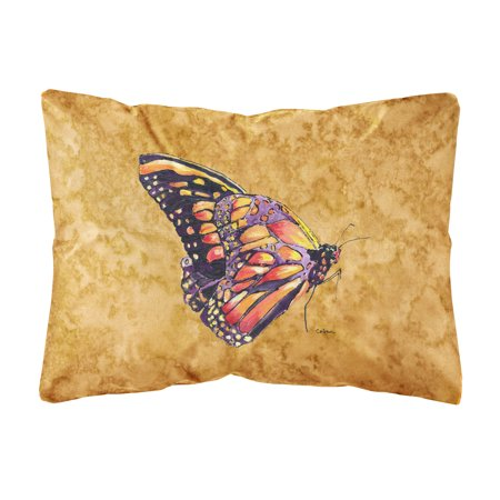 Butterfly on Gold Canvas Fabric Decorative Pillow