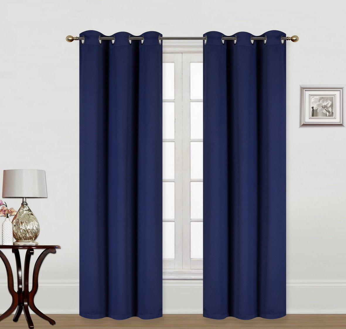 "(K68) NAVY BLUE 2-Piece Indoor and Outdoor Thermal Sun Blocking Grommet Window Curtain Set, Two (2) Panels 35"" x 84"" Each"