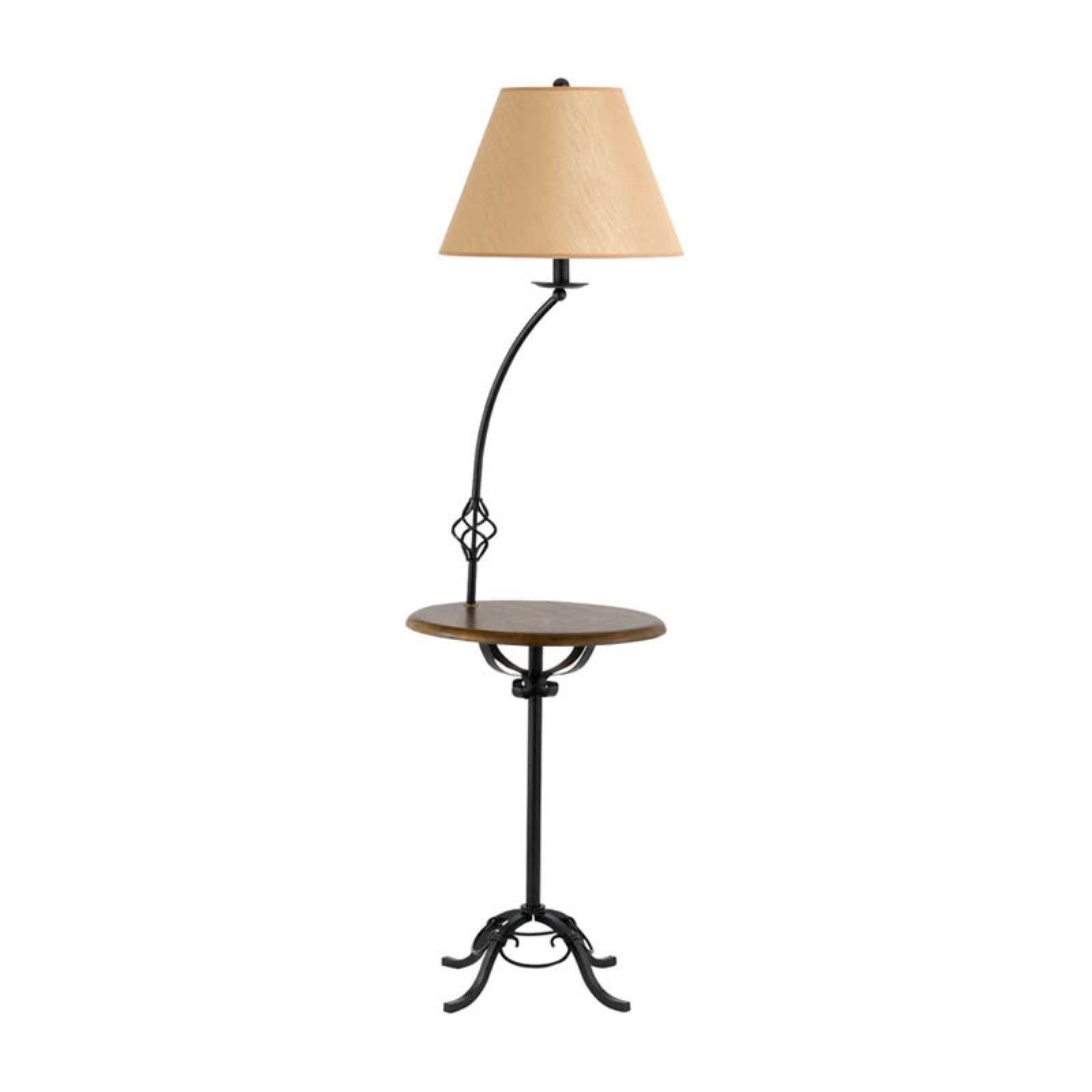 Cal Lighting BO-2095FL Wrought Iron Floor Lamp with Wood Tray Table by CAL Lighting