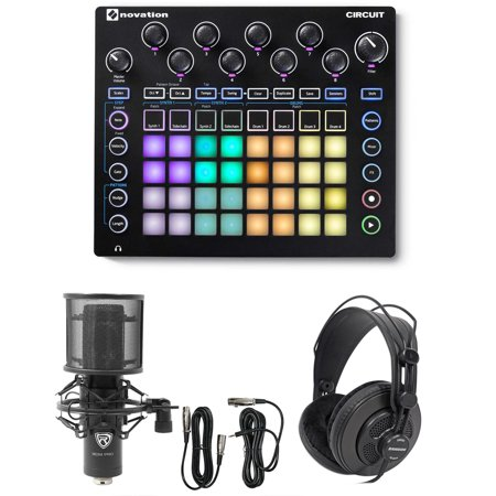 novation circuit groove box music controller pad drum machine mic headphones. Black Bedroom Furniture Sets. Home Design Ideas