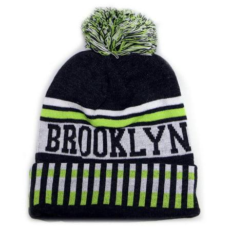3754141679c7b City Hunter Sk1120 Brooklyn Pom Pom Beanie Hat (Dark Grey neon lime) -  Walmart.com
