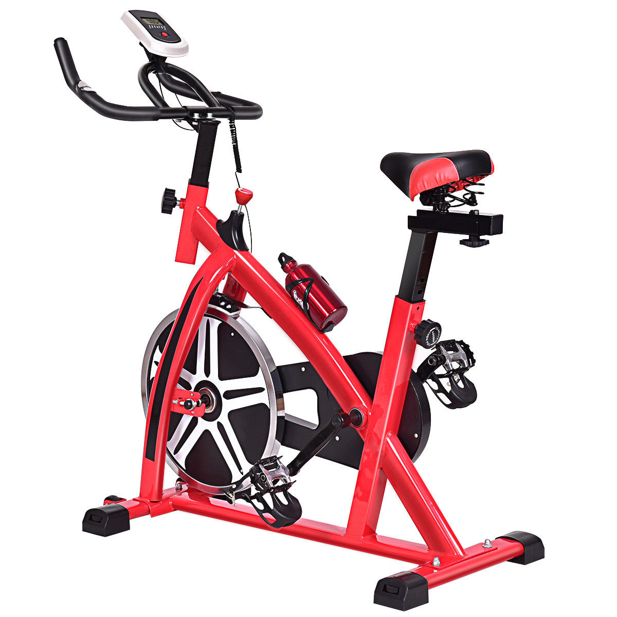 """GHP Home/Gym 44""""Lx18""""Wx44""""H Black & Red Exercise Bike w Multi-function LCD Display"""