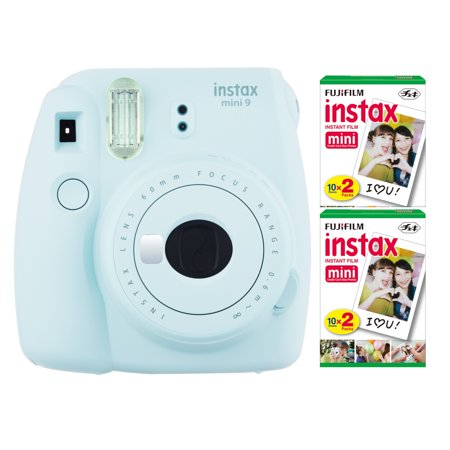 Fujifilm Instax Mini 9 Instant Camera (Ice Blue) with Twin Film Pack (40 Sheets)