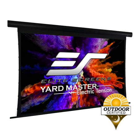 Elite Screens Yard Master Tension Series Projector Screen, 150-inch 16:9, Outdoor Electric Motorized Outdoor Front/Rear Wraith Veil Dual Projection Movie Screen, OMS150HT-ELECTRODUAL
