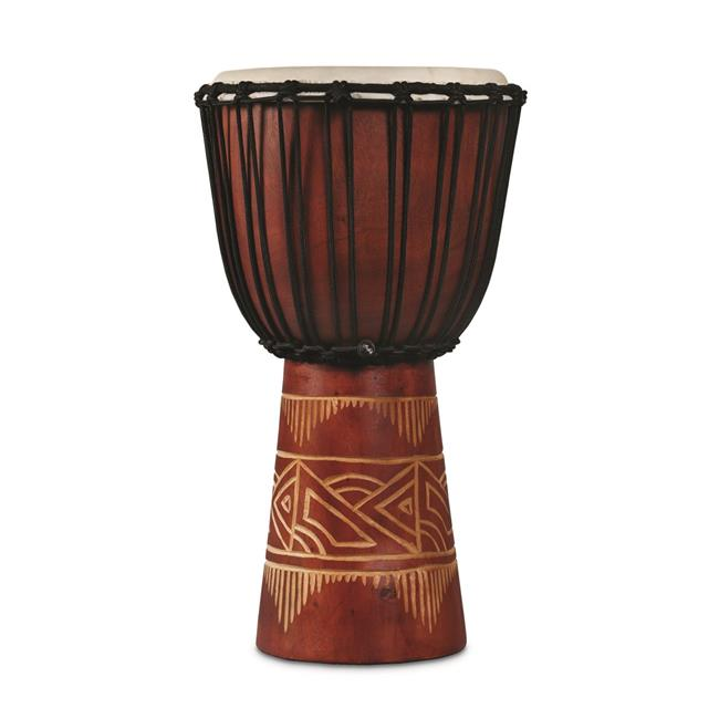 Latin Percussion LP713MR World Beat Wood Art Medium Djembe, Red with Natural