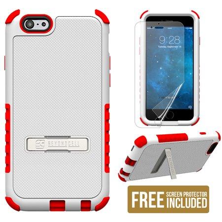 Aluminum Case Saver (WHITE RED TRI-SHIELD SOFT SKIN HARD CASE STAND SCREEN SAVER FOR iPHONE 6)