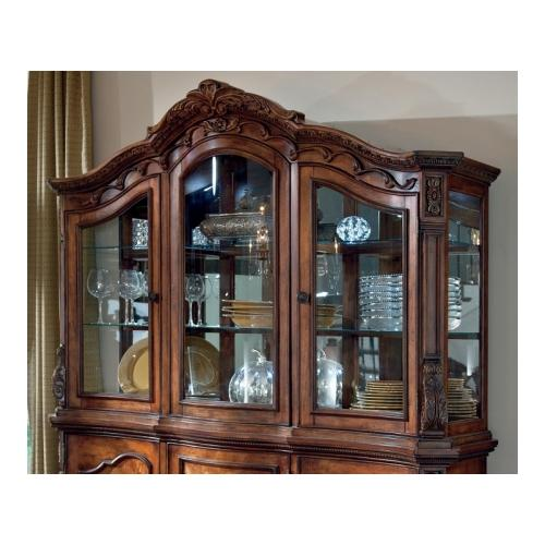 Ashley  D70581 Ledelle Dining Room Hutch with Mirrored Back  Elaborately Moulded Ornamentation  Ash Swirl and Birch