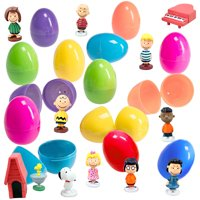 12 Toy Filled Easter Eggs With Peanuts Cartoon Figurines - Charlie Brown, Snoopy, And Woodstock To Delight All Ages - Prefilled Easter Eggs Save You Time - Great As Kids Party Favors And Cake Toppers