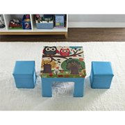 Altra Kids Fabric Table and Ottoman Set with Owl Pattern, Blue