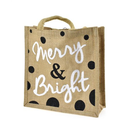Christmas Totes (Merry & Bright Jute Square Burlap Christmas Tote,)