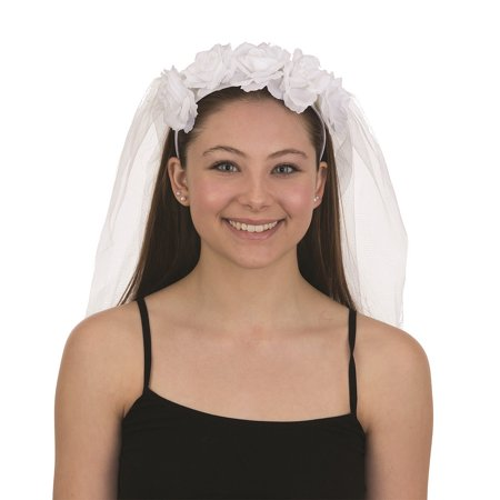 Wedding Veil White Headband with Flowers 28