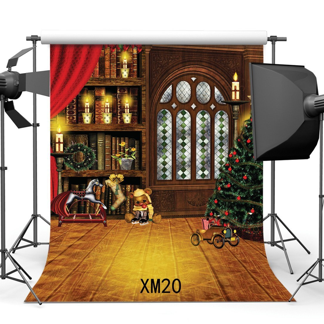 Erehome Polyester Fabric 5x7ft Photography Backdrop Christmas Tree Candles Bookshelf Wooden Horse Vintage Wood Floor Happy New Year Portraits Background Photo Studio Prop Walmart Canada