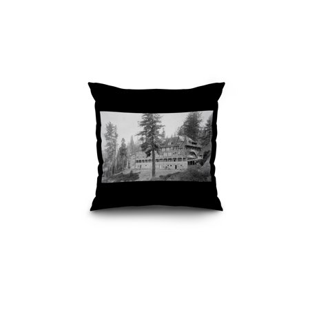 Yosemite Natl Park  California   Exterior View Of Glacier Point Hotel  16X16 Spun Polyester Pillow  Black Border