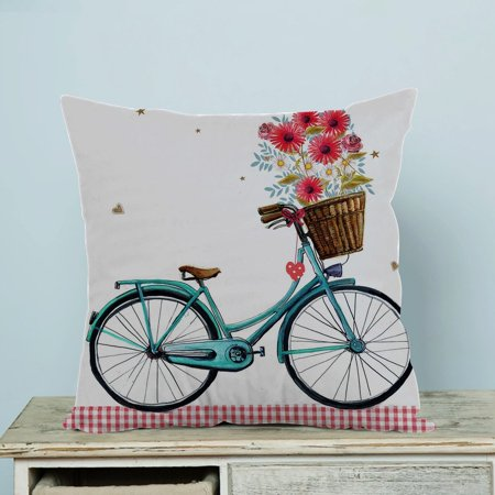 GCKG Blue Bicycle With Flower Floral and Butterfly Art Pillow Case Pillow Cover Pillow Protector Two Sides 20 x 20 Inches