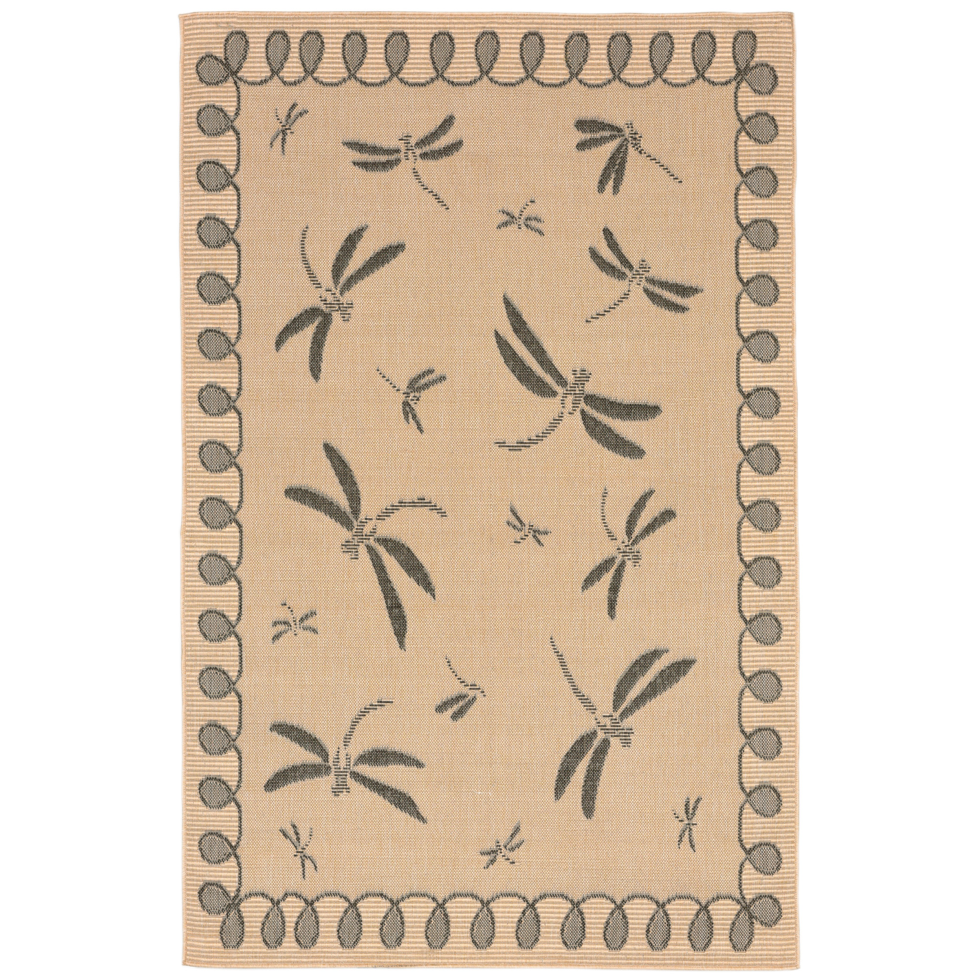 Liora Manne Terrace 1791/67 Dragonfly Neutral Area Rug 4 Feet 10 Inches X 7 Feet 6 Inches