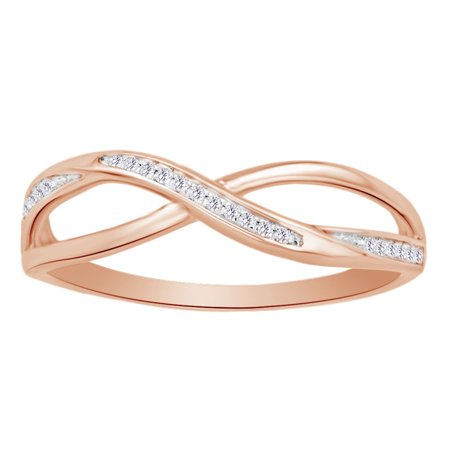 (0.05 cttw) Round Cut White Natural Diamond Crisscross Fashion Ring In 10k Rose Gold Ring Size-4