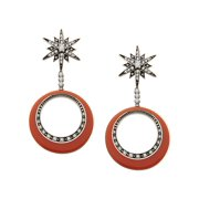Orbital Star Drop Earrings with Cubic Zirconia in Sterling Silver