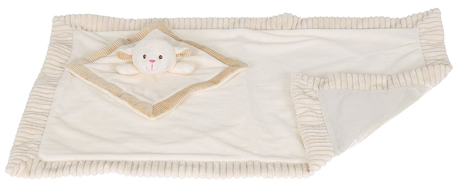 """KellyBaby 30"""" Soft Baby Blanket with Satin Lining and Matching Security Blanket Rattle Toy, Creamy White... by KellyBaby"""