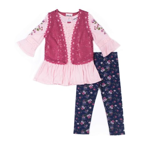 Floral Outfit Girl - Little Lass Ruffled Floral Top, Lace Vest & Legging, 3-Piece Outfit Set (Little Girls)