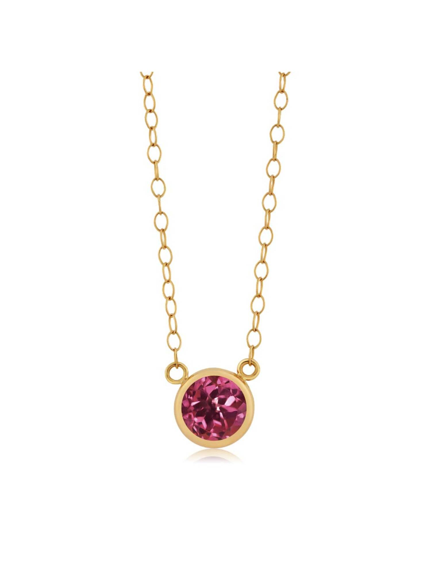 0.50 Ct Round Pink Tourmaline AA 14K Yellow Gold Pendant With Chain by
