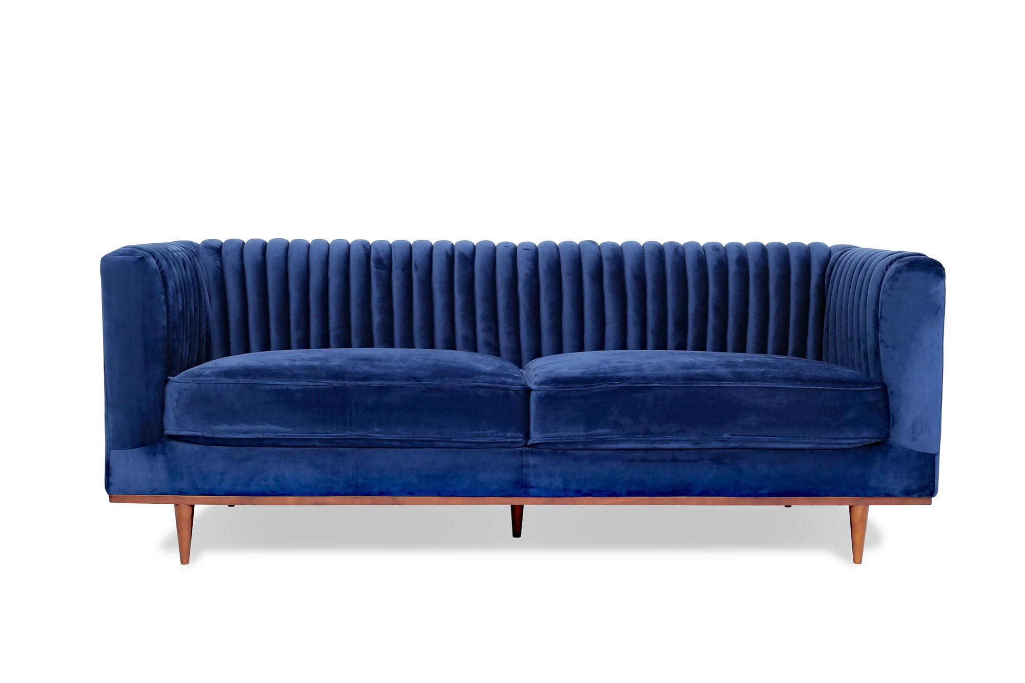 Lindsay Blue Velvet Sofa Mid Century Modern Couch