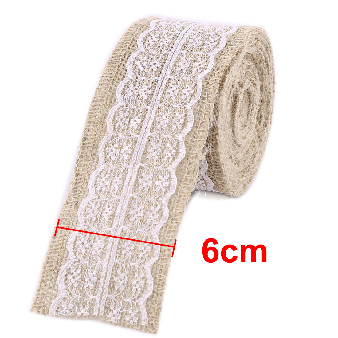 Wedding Burlap Handcraft Gift Packing Belt Ribbon Roll Decor White 4.4 Yards - image 3 of 5