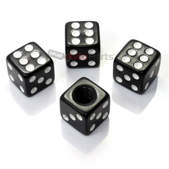 SmallAutoParts Black Dice Valve Caps - Set Of 4
