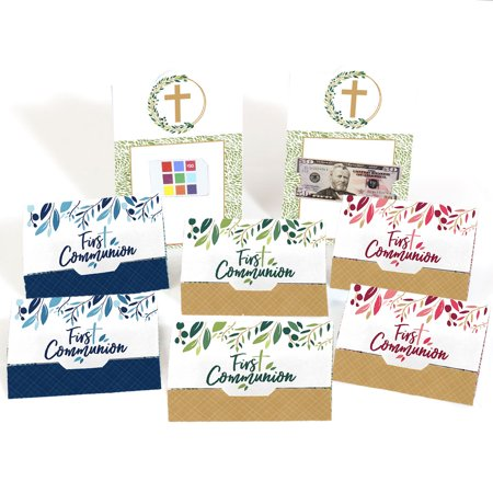 First Communion Elegant Cross - Assorted Religious Party Money And Gift Card Holders - Set of -