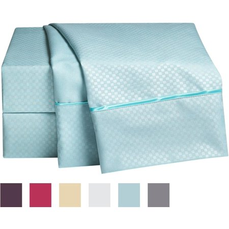 1800 Collection Embossed Checkerboard Design 4 Piece Bed Sheet Set Full Light Blue High Quality Sheets With A Beautiful By