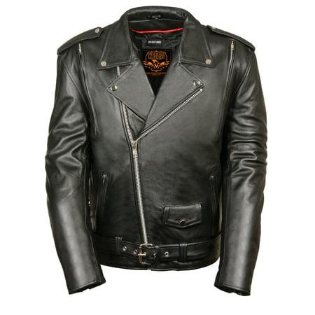 Milwaukee Leather Mens Premium Black Leather Vented Motorcycle Jacket