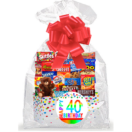 Signature Cookie Gift Box - CakeSupplyShop Item#040BSG Happy 40th Birthday Rainbow Thinking Of You Cookies, Candy & More Care Package Snack Gift Box Bundle Set - Ships FAST!