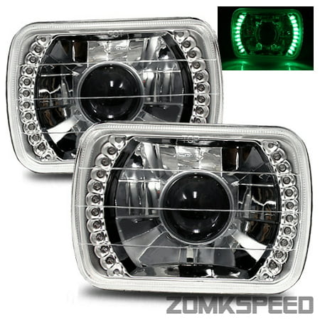 1978-1990 Plymouth Horizon 7X6 H6014/H6052/H6054 Chrome Crystal Square Projector Headlights - Green LED Ring