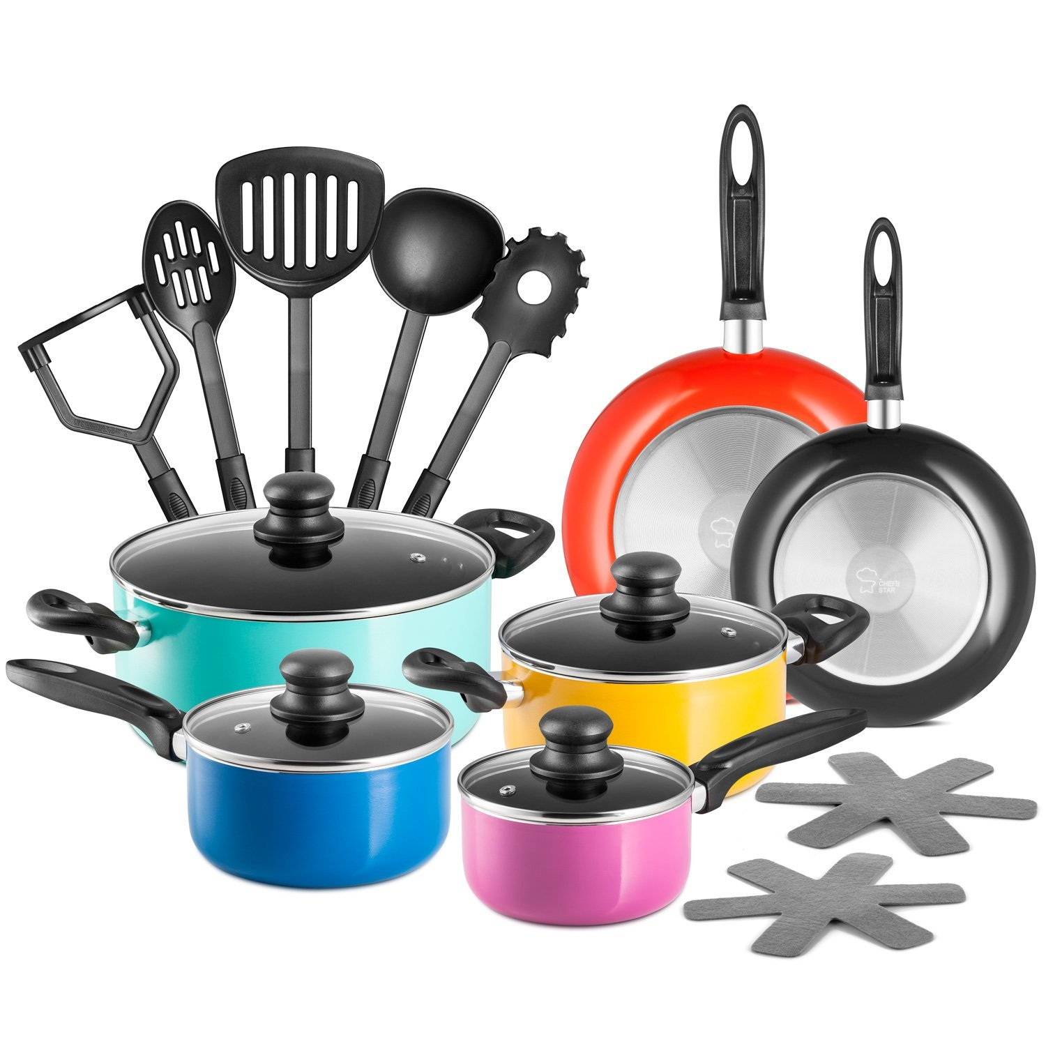 Chef's Star 17 Piece Professional Grade Aluminum Non-stick Pots & Pans Set Induction Ready Cookware Set... by Unassigned