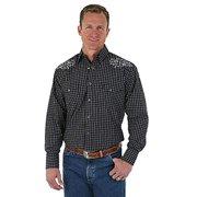 Wrangler Mens George Strait Troubadour Long Sleeve Shirt MGS87BK Black (Large)