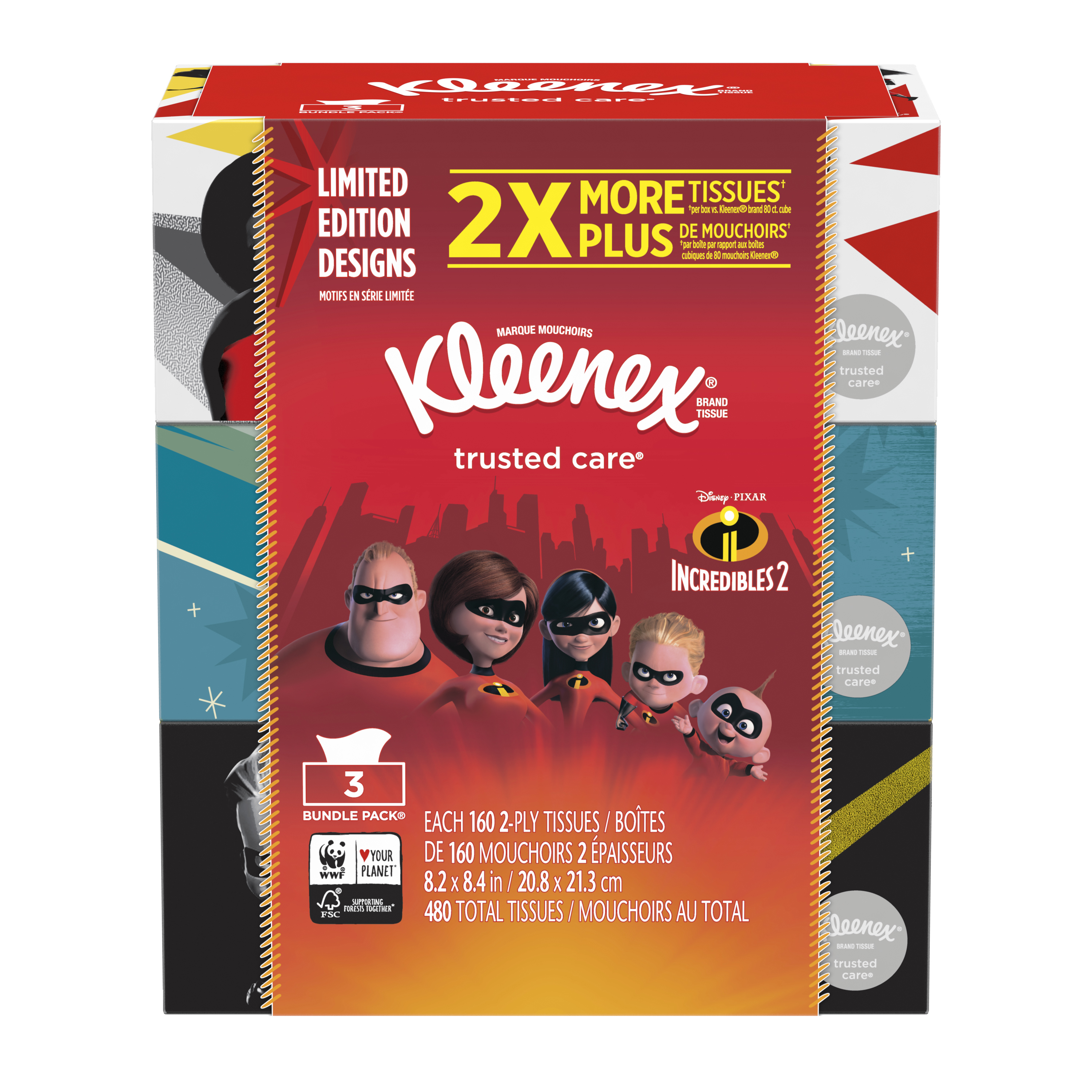 Kleenex 160 Tissues/Flat Box, 3 Packs, Trusted Care Everyday Facial Tissues