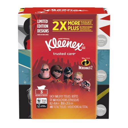 Kleenex Everyday, Non-Lotion, Incredibles 2, Limited Edition, 160 Facial Tissues per Box, 3 Flat Boxes