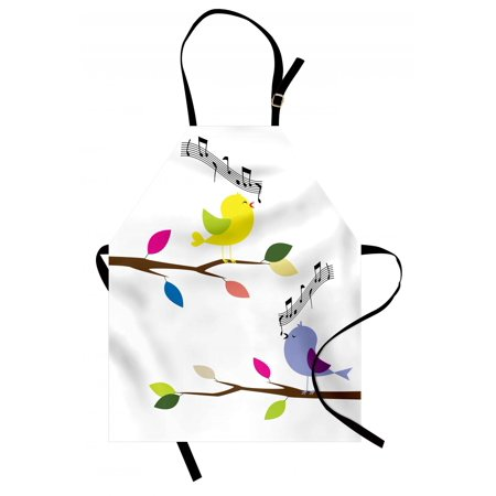 Birds Apron Cute Colorful Birds Singing on Tree Best Happiness Mascots Artsy Humor Illustration, Unisex Kitchen Bib Apron with Adjustable Neck for Cooking Baking Gardening, Multicolor, by Ambesonne ()